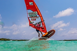 Young international windsurfing champion, Lennart Neubauer in action.